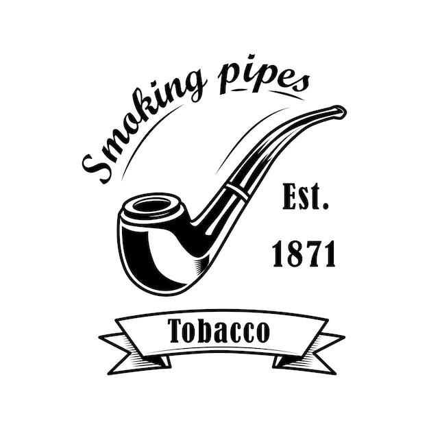 Illustrazione di vettore dell'etichetta del negozio di tabacco. pipa e testo classici. logo di concetto di negozio di tabacco Vettore gratuito