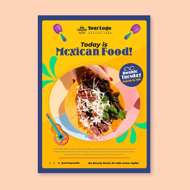 Oggi è il modello di volantino di cibo messicano Vettore gratuito