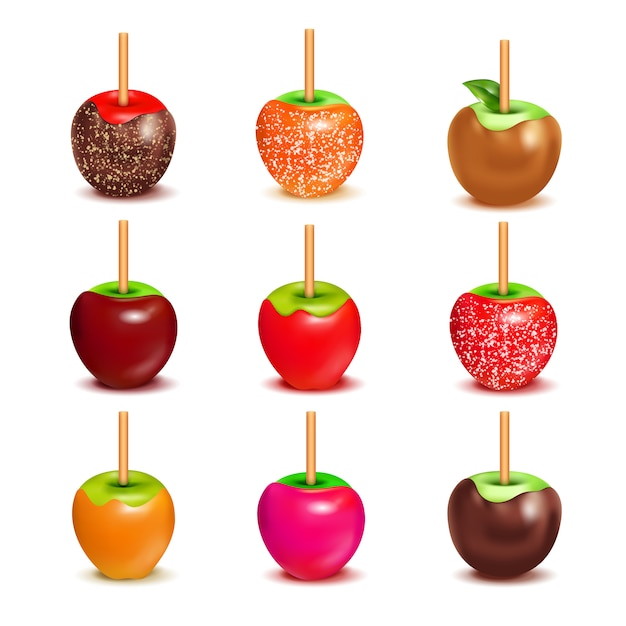 Toffee candy apples assortment set Free Vector