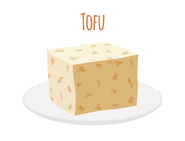 Tofu on plate Premium Vector