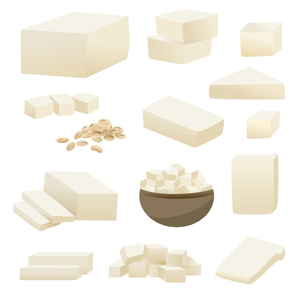 Tofu vector collection in square slice in cup and soy bean. Premium Vector
