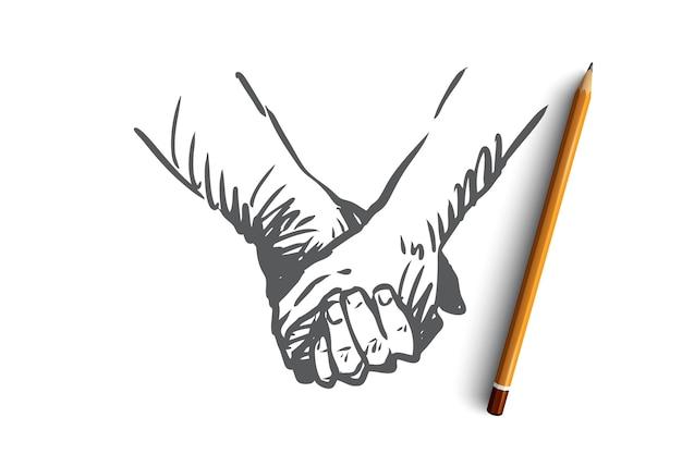 一緒に、手、友情、愛、パートナーシップの概念。握手または手をつないで描かれた人の概念スケッチ。 Premiumベクター