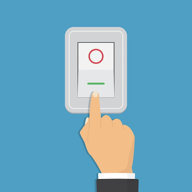 Toggle switch. electric control concept. hand turning on the light Premium Vector