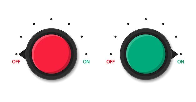 スイッチのオンとオフを切り替えます。赤と緑の丸いボタン。メーターをスケーリングします。電力レベル。ゲージ。 Premiumベクター