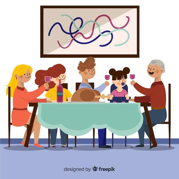 手描き家族のtoghetherを食べる 無料ベクター