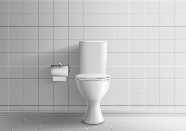 Toiler room minimalistic interior with tiled wall and floor 3d realistic vector mockup Free Vector
