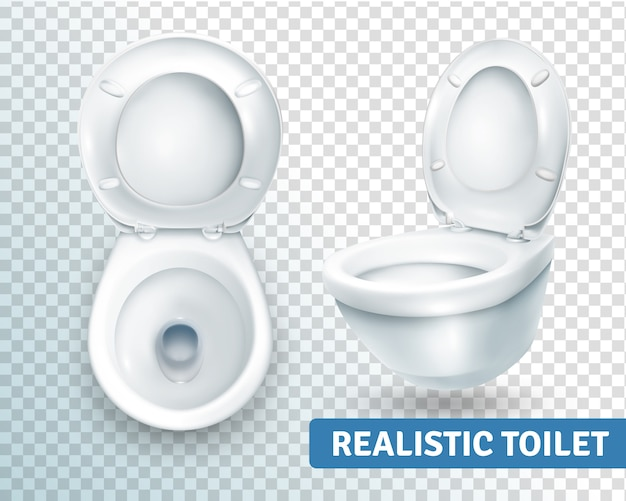 Toilet bowl realistic set Free Vector