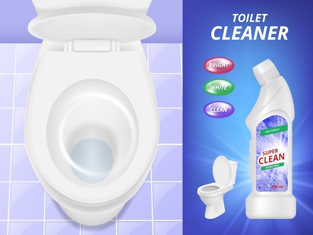 Реклама уборщика туалета. свежий чистый плакат жидкого моющего средства для унитаза и ванной комнаты. реалистичная картинка Premium векторы