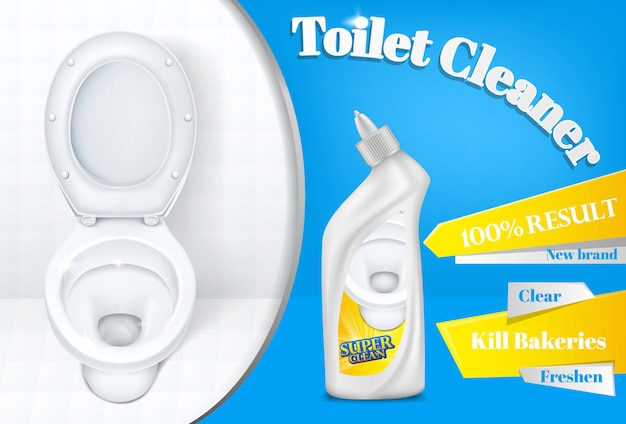 Toilet cleaner advertising poster template of white plastic detergent bottle and toilet Free Vector