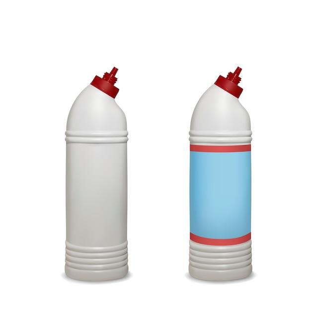 Toilet cleaner illustration of white plastic bottle package for bathroom sanitizing Free Vector