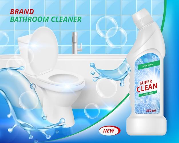 Toilet detergent cleaner. bathroom soap liquid washing clean of ceramic sink advertizing realistic placard template Premium Vector