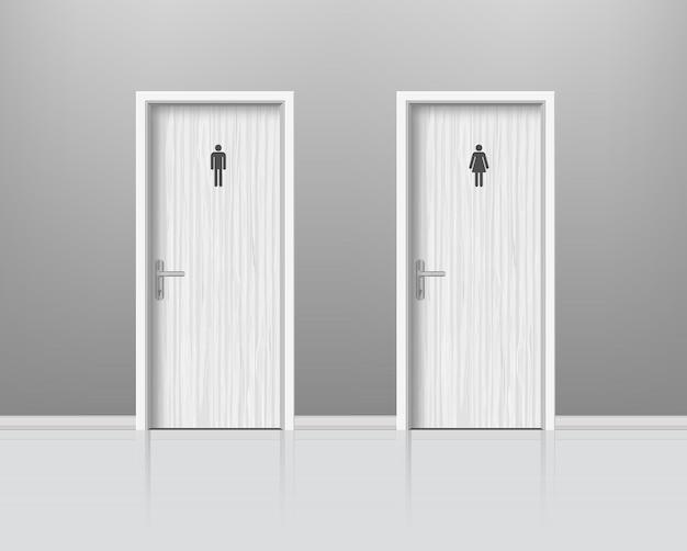 남녀 성별 화장실 문. 남자와 여자 화장실 방, Wc 현실적인 구성에 대한 Woden 문. . 프리미엄 벡터