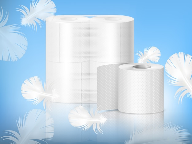 Toilet paper realistic composition Free Vector