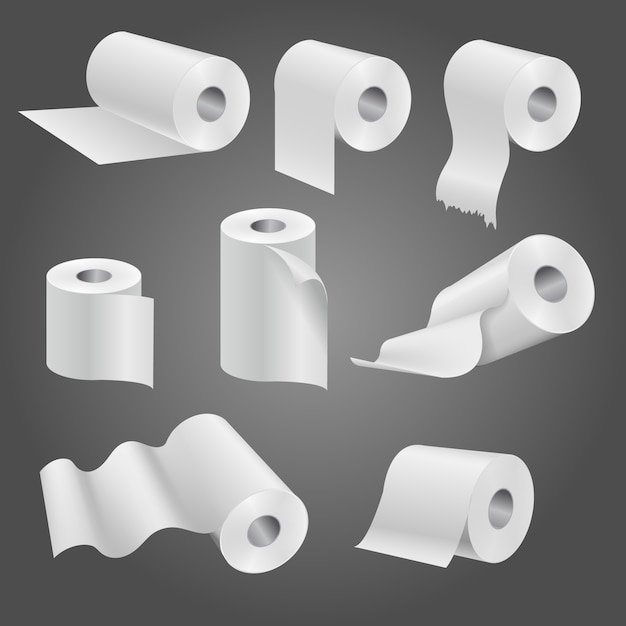 Toilet paper roll for bathroom and restroom Premium Vector