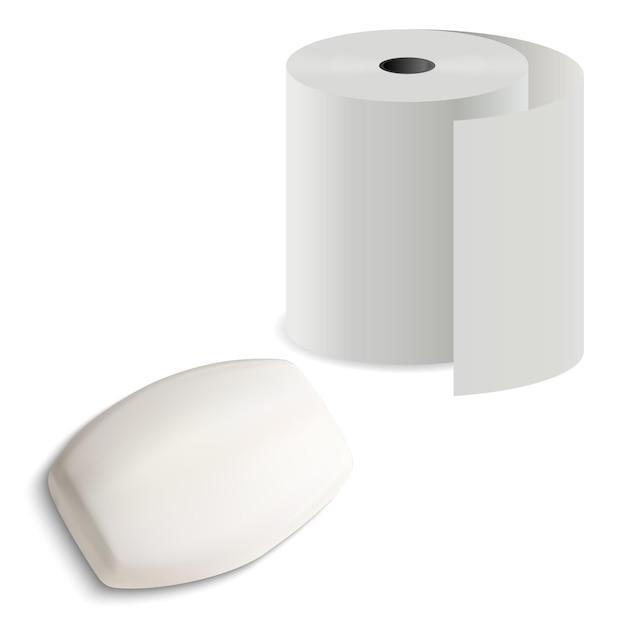 石鹸バー付きトイレットペーパーロール、イラスト、gygiene用キッチンタオルシリンダーパック付きのリアルなソリッドバー Premiumベクター