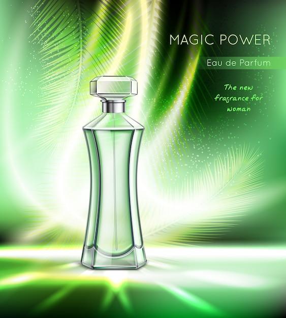 Toilet water perfume eau toilette women fragrance realistic advertising with elegant bottle sparkling vector illustration Free Vector