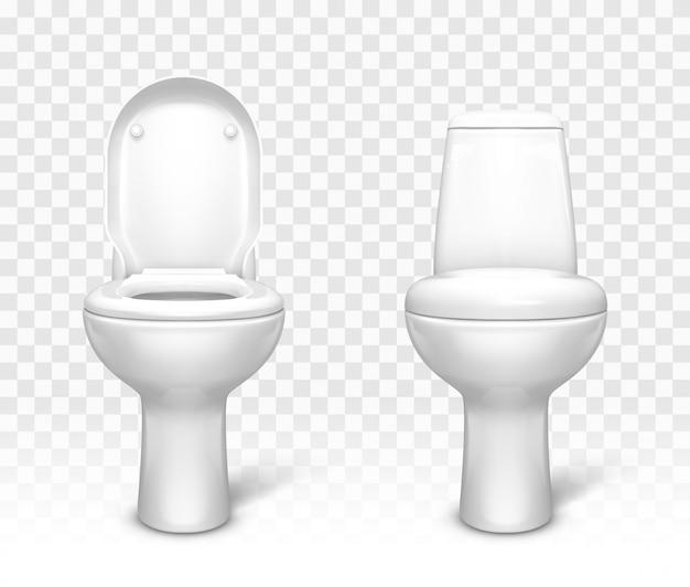 Toilette con set di sedili. ciotola per lavabo in ceramica bianca Vettore gratuito