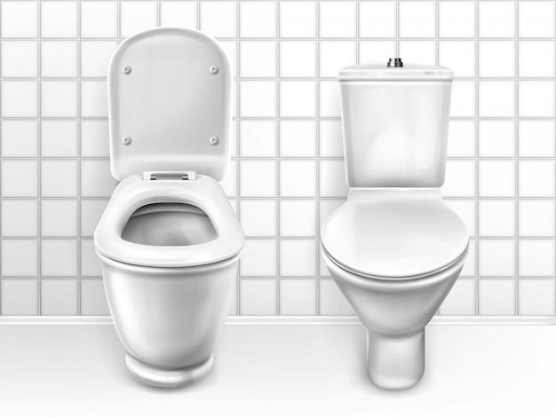 Toilette con seduta, lavabo in ceramica bianca Vettore gratuito