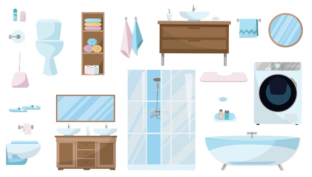 Toiletries set of furniture, sanitation, equipment and articles of hygiene for the bathroom. Premium Vector