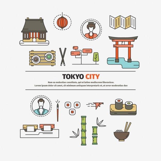 Tokyo city flat design elements Free Vector