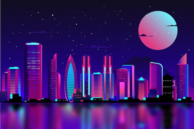 Tokyo in neon lights with full moon Free Vector
