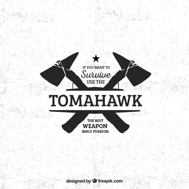 Tomahawk badge Free Vector