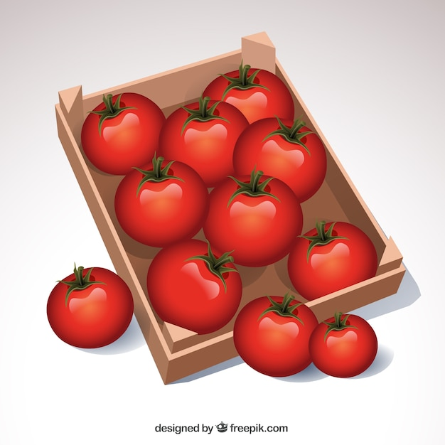 Tomatoes box Free Vector