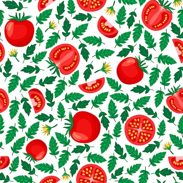 Pomodori seamless pattern, sfondo bianco con pomodori interi e affettati e foglie Vettore gratuito