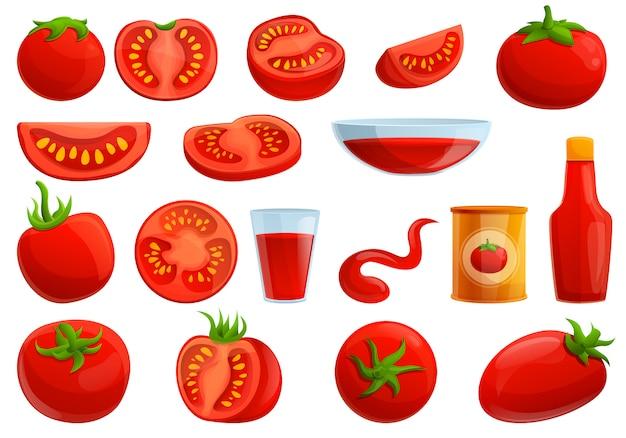 Tomatos set, cartoon style Premium Vector