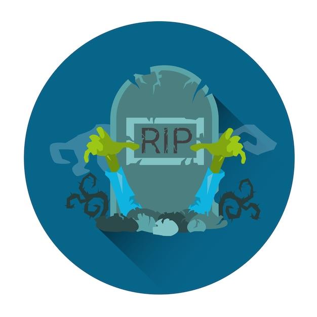 Tomb grave rip stone zombie halloween holiday icon Premium Vector