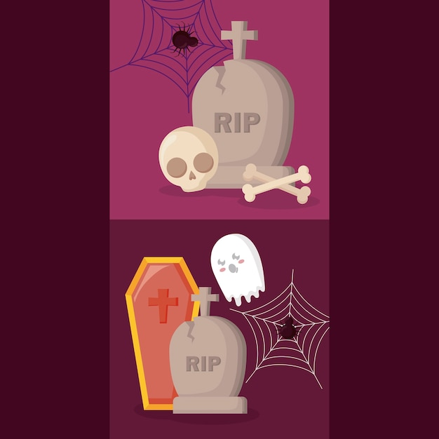Tombs with halloween concept Free Vector