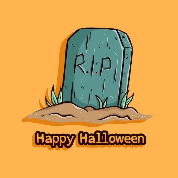Tombstone illustration with happy halloween Premium Vector