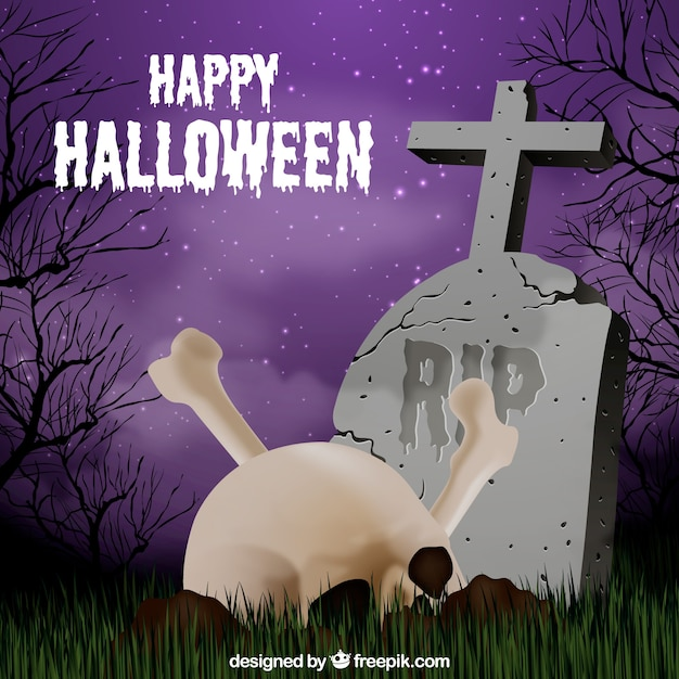 Tombstone and skull background Free Vector