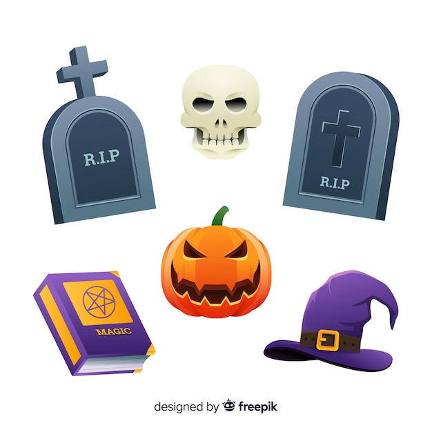 Tombstones and witches flat halloween collection Free Vector