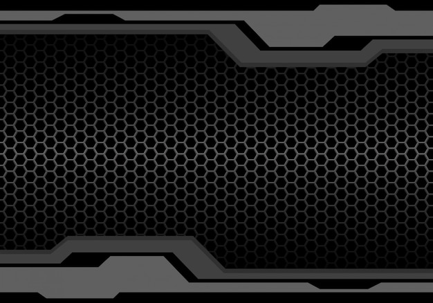 Tone polygon futuristic metallic hexagon mesh background. Premium Vector