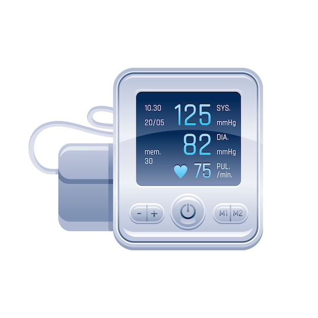 Tonometer. medical device for blood pressure control. hypertension check vector illustration. Premium Vector