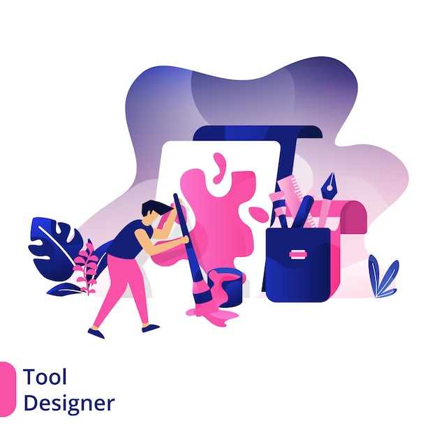 Tool designer, the concept of men using paint brushes to paint on boards Premium Vector