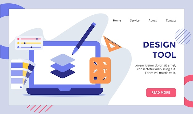 Tool pen layer on display monitor laptop campaign for web website home homepage landing page template banner with modern Premium Vector