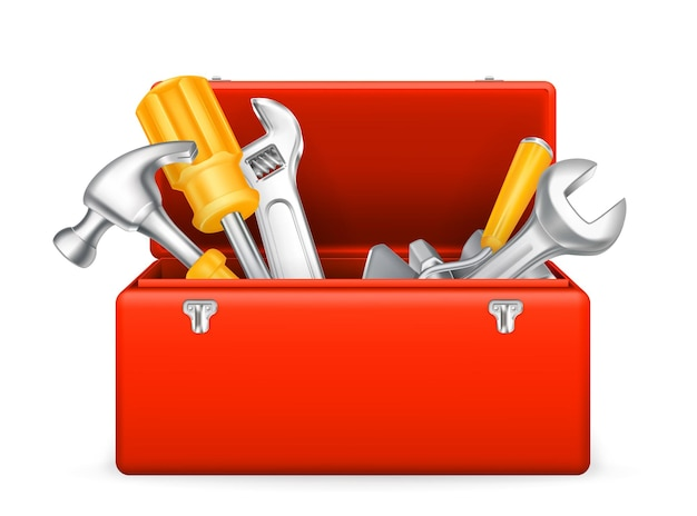 Tool shed, tool kit, tool box, set of wrenches,  icon Premium Vector