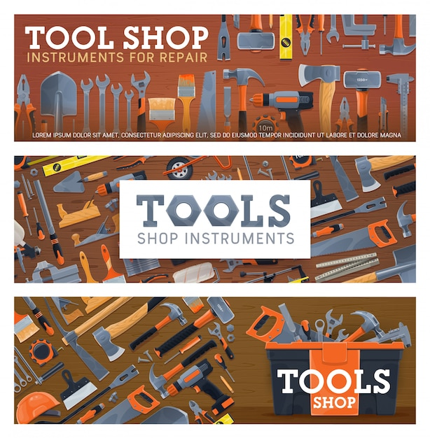 Tool shop banners with house repair equipment Premium Vector