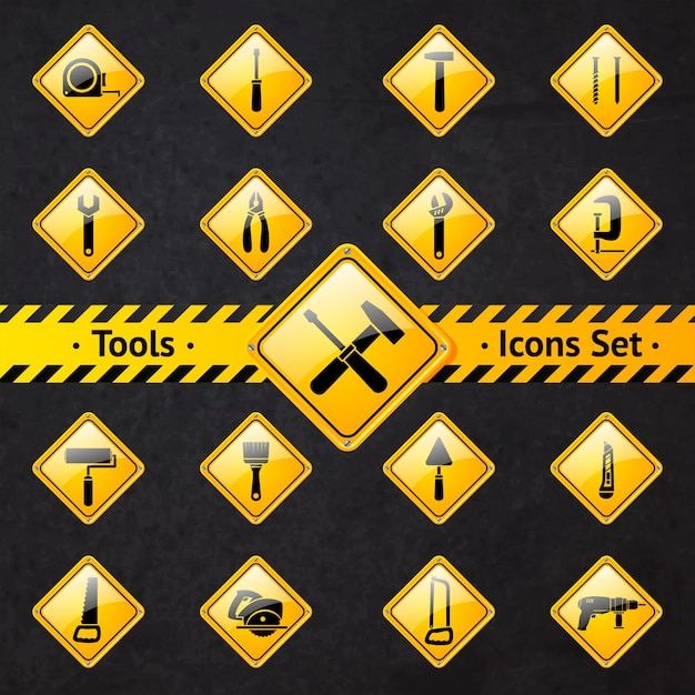 Toolbox attention yellow and black signs collection isolated vector illustration