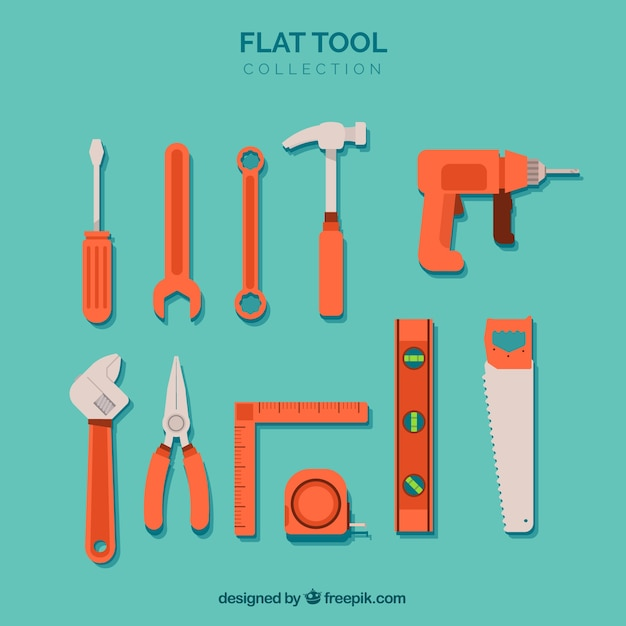 Tools collection in flat style Free Vector