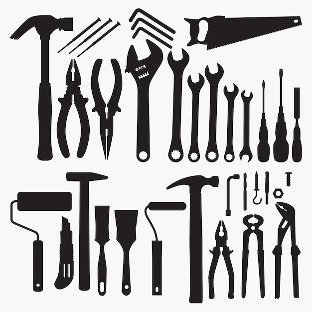Tools Collection Silhouettes Premium Vector
