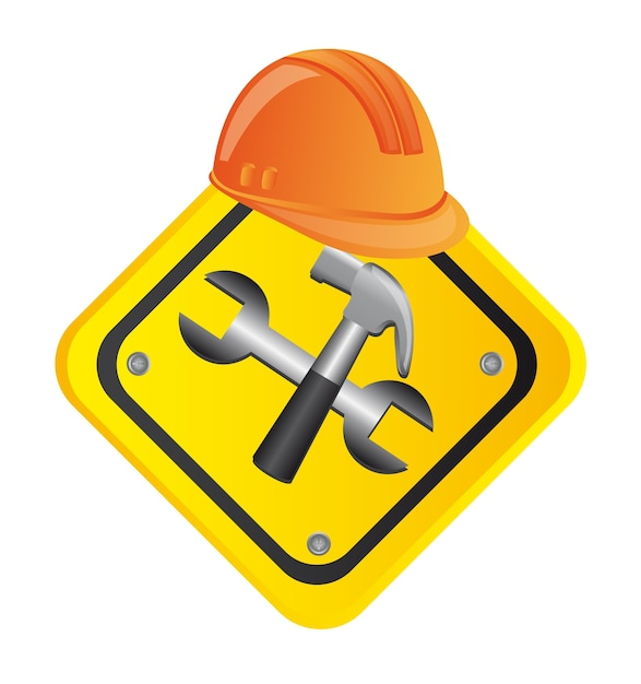 Premium Vector | Tools construction with helmet road sign vector  illustration