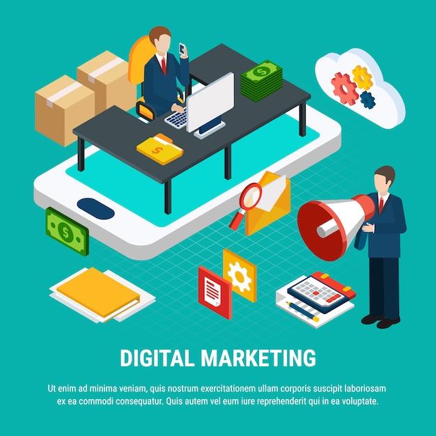 Tools for digital mobile marketing isometric 3d illustration Free Vector
