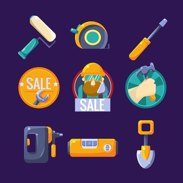 Набор инструментов для сборки и ремонта иллюстраций Premium векторы