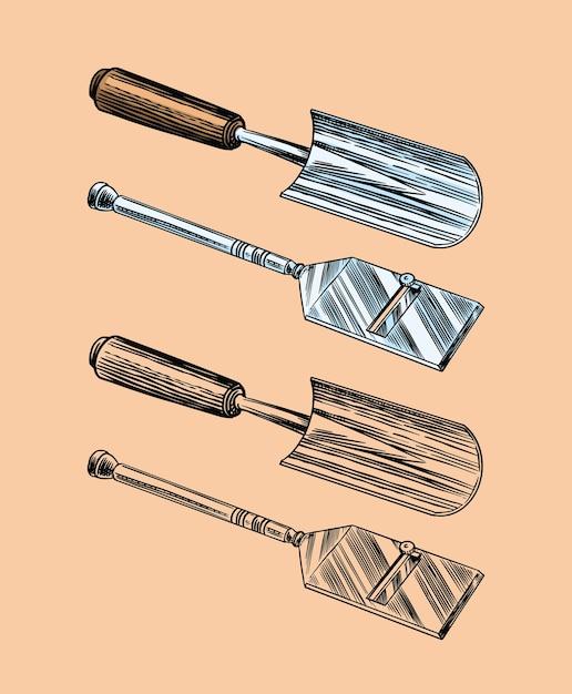 トリュフのキノコを見つけるためのツール。 Premiumベクター