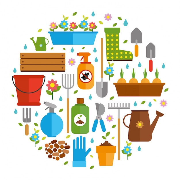 Tools for gardening Free Vector