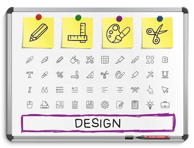 Инструменты ручной рисунок линии иконы. набор пиктограмм каракули, эскиз знак иллюстрации на белой маркерной доске с бумажными наклейками. палитра, волшебная кисть, карандаш, пипетка, ведро, клип, сетка, жирный. Premium векторы