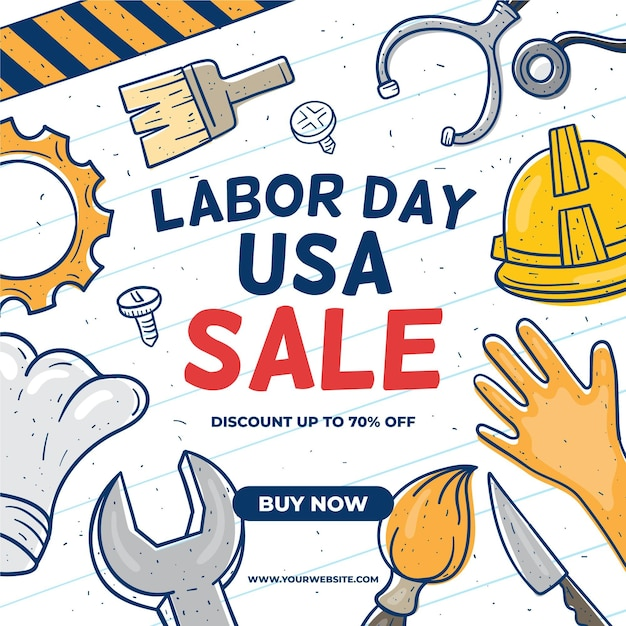 Tools and hands usa labour day Free Vector